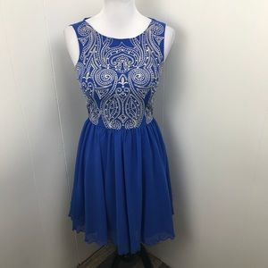 Mod Cloth Chi Chi London Blue Sequined Dress